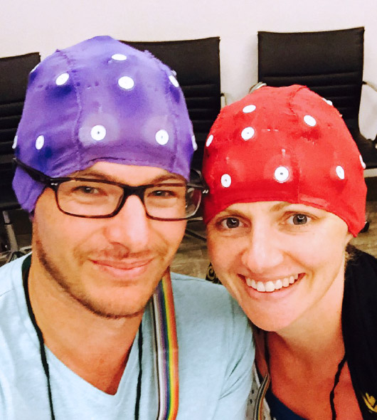 Dalice and Mark wearing EEG caps in Mexico at the Dr Joe Dispenza retreat in 2015